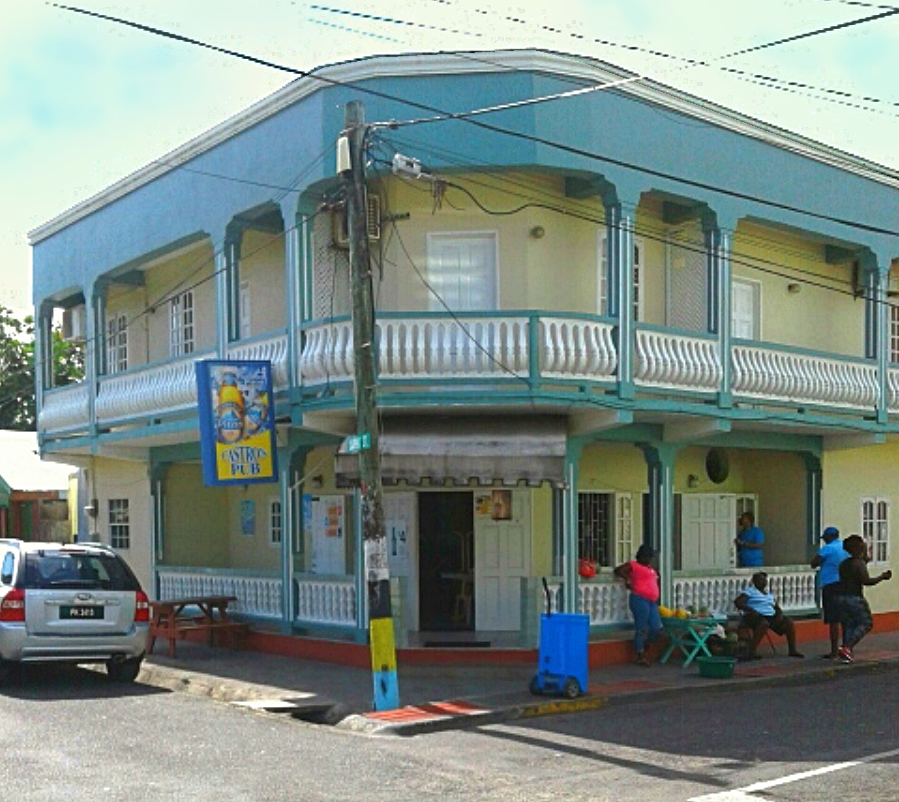Castros Bar is easily recongnizable on Dauphin St Gros Islet - popular Gros Islet bar