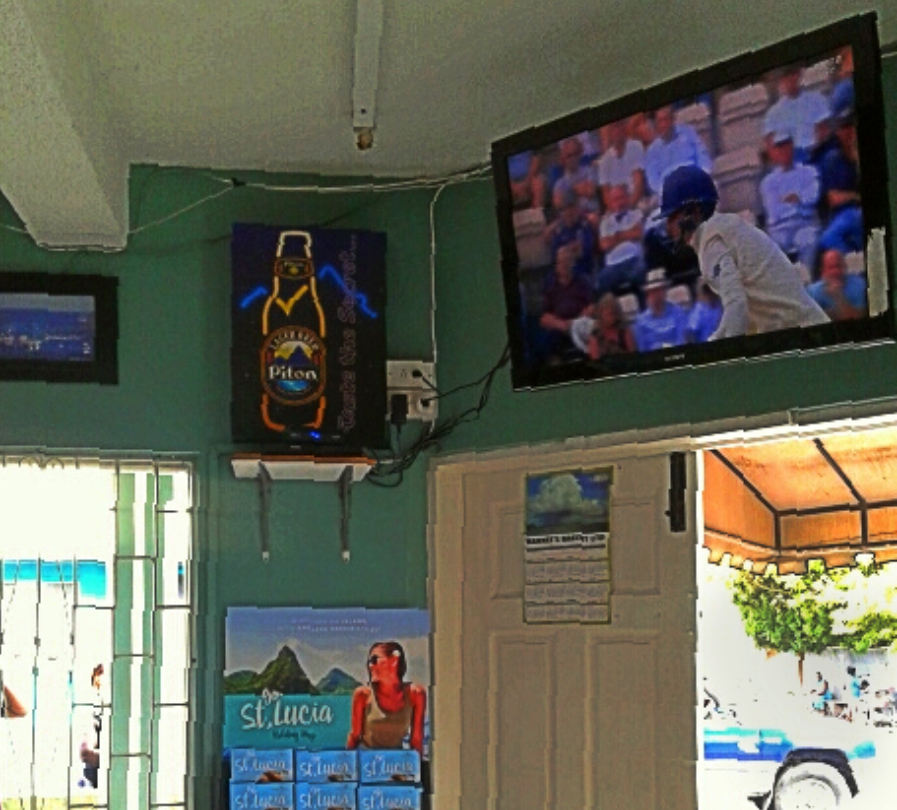 Sports fans can keep up with the score at Castro's Bar in Gros Islet, one of Saint Lucia's most popular local bars
