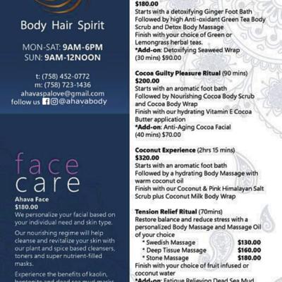 AHAVA Body Hair and Spirit – Day Spa in Rodney Bay