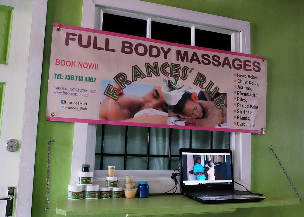 Frances Rub traditional healing salve and massage parlour castries vendors arcade