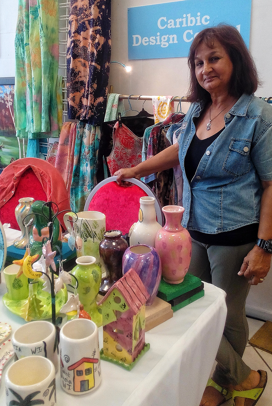 urmie persaud caribic design ceramics, live mindfully upcycled clothing, buy saint lucian products, shopping in saint lucia, authentic crafts