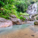 st lucia waterfalls, things to do in st lucia, anse la raye waterfall is a medium difficulty short hike - crosses shallow river bed, clamber over rocks, near Marigot Bay and the St Lucia Distillers in Roseau