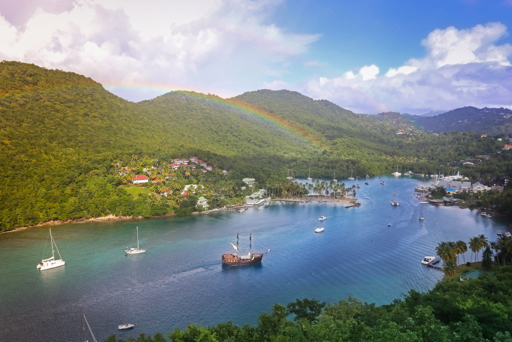 an amazing view of Marigot Bay, Saint Lucia - visit for the 2019 Saint Lucia Jazz Festival photo courtesy the Saint Lucia Tourism Authority