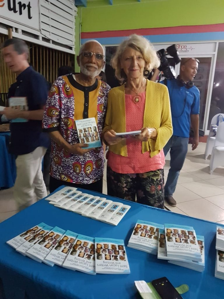 Author Jonn R Lee and Polly Pattullo at the launch of Saint Lucian Writers and Writing, 758 Books and Cafe Litteraire, Gablewoods Mall, Castries where you can buy local books and have a cup of tea, relax and read