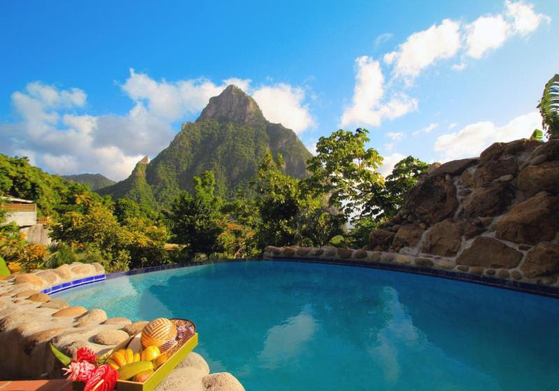 The beautiful Stonefield Villa Resort in Soufriere, Saint Lucia - you can now book through Kind Traveler and support the local charity Pawasol Pour ti Mamay