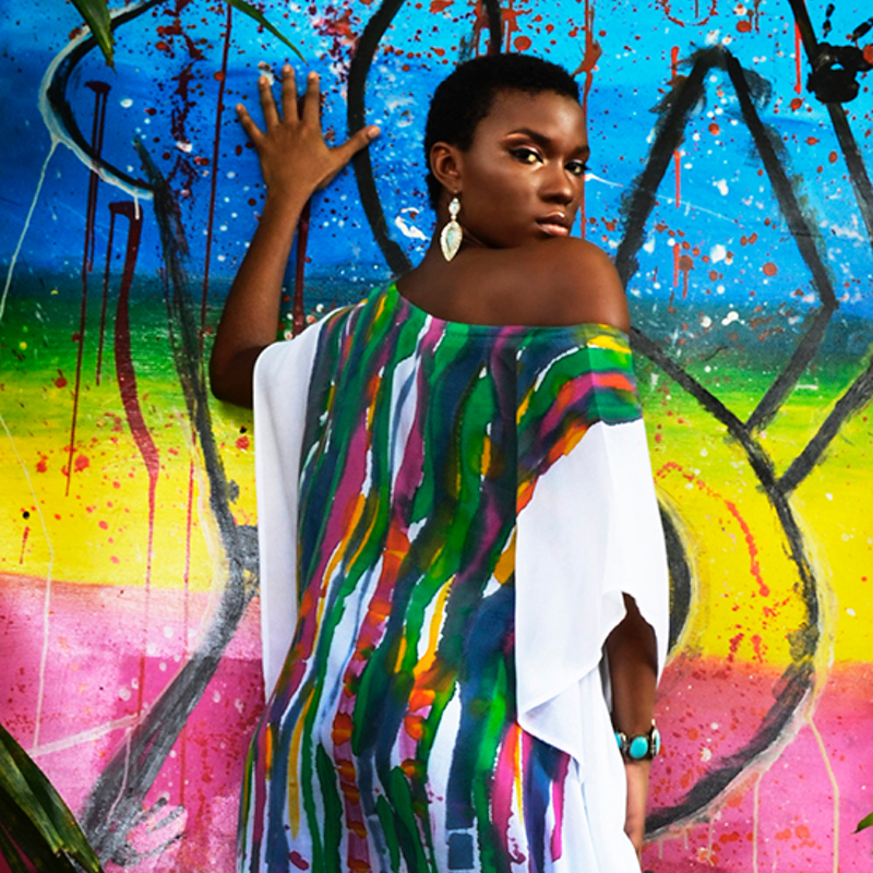 st lucia fashion resort wear by LBM Designs handpaited khaftan afrocentric fashion black owned business
