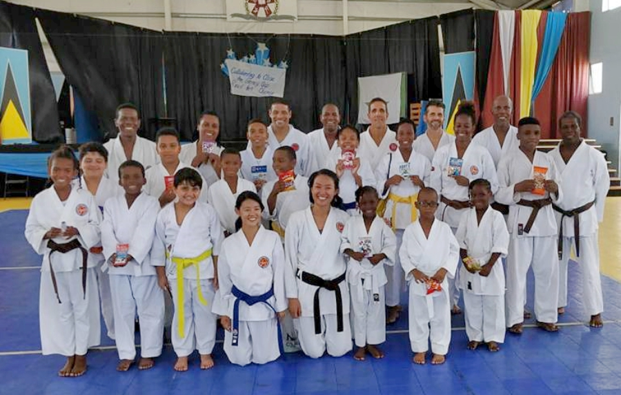 St Lucia Shotokan Karate Association members fundraising bbq