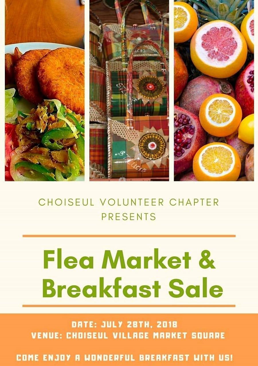 volunteer Saint Lucia choiseul flea market and breakfast sale