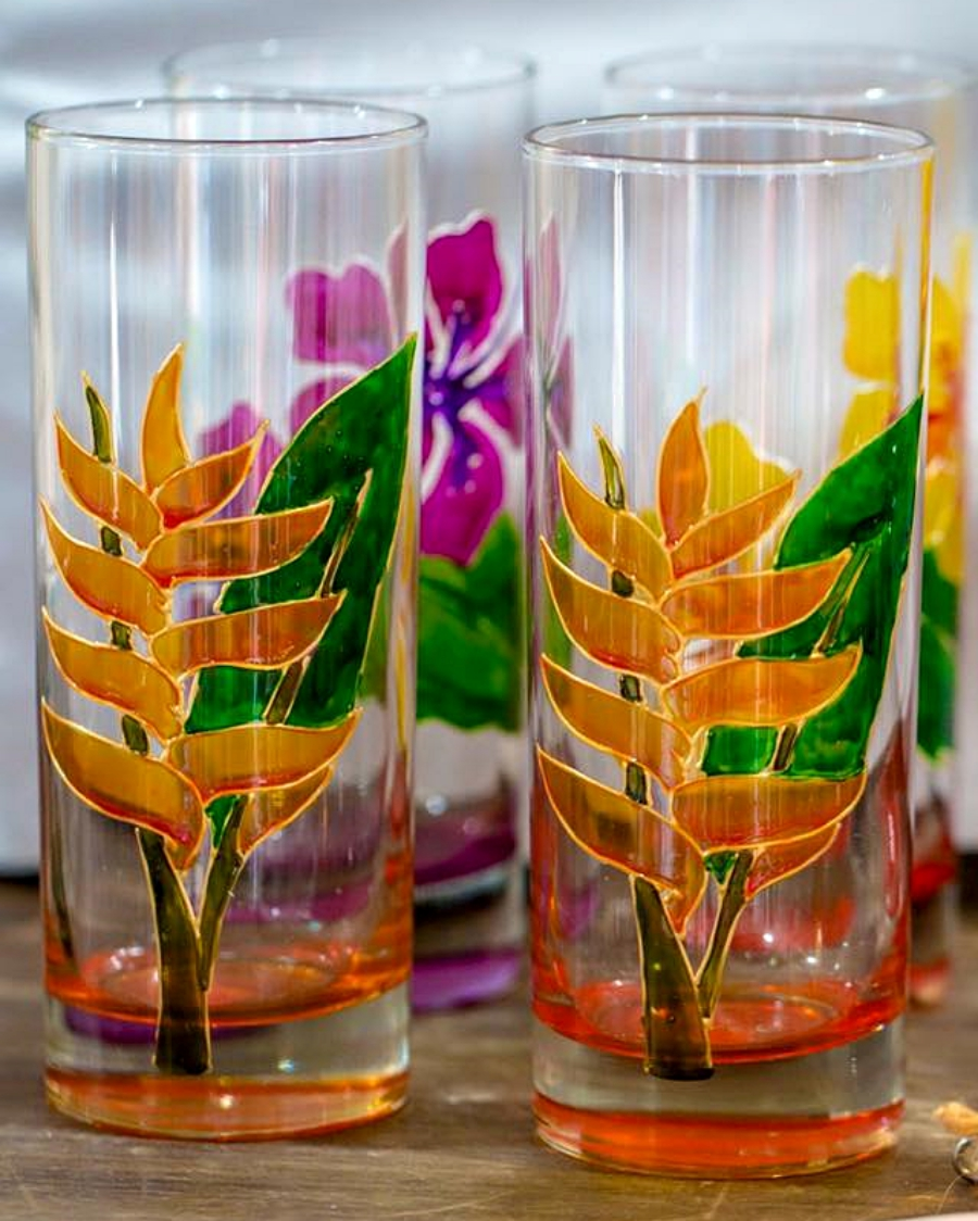 handpainted glasses at island mix shop
