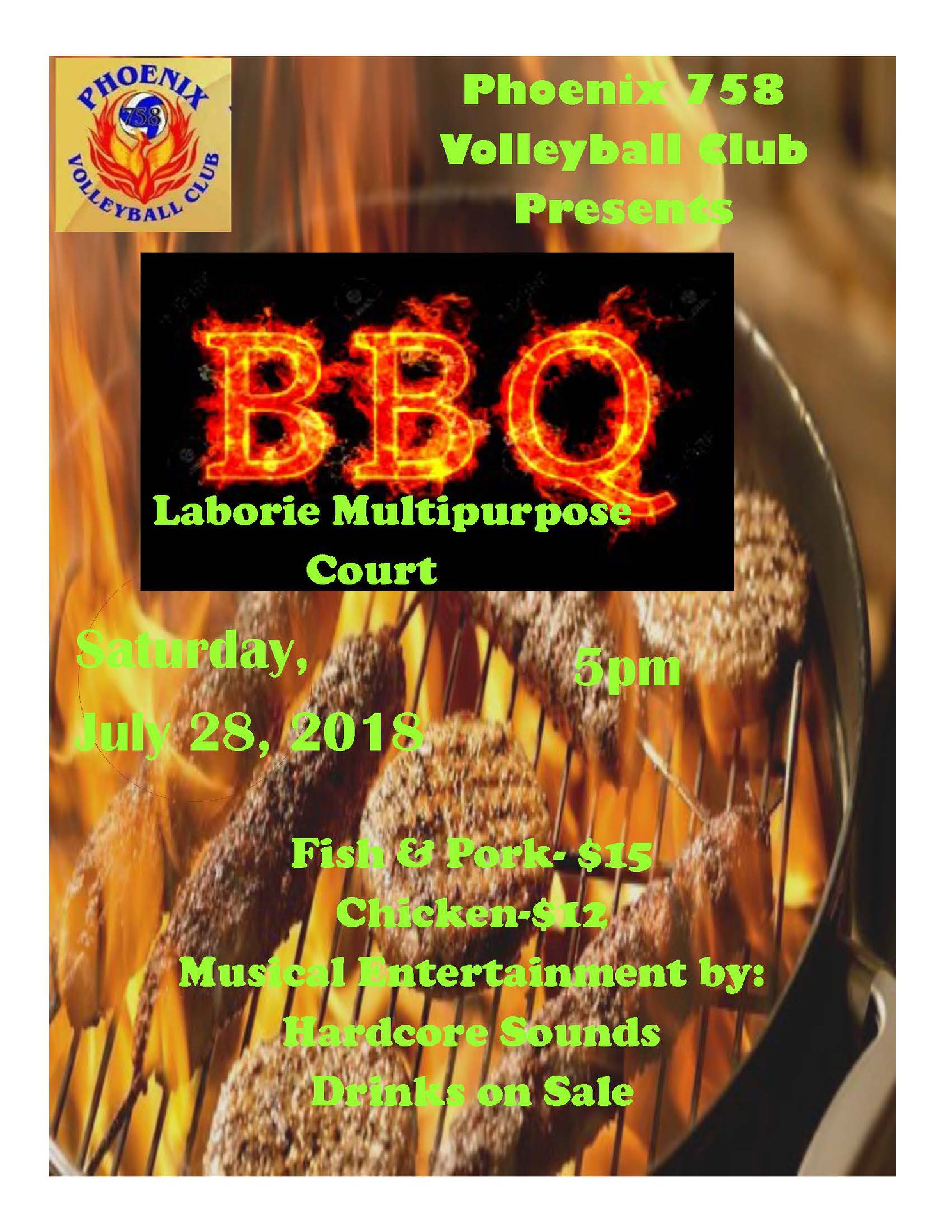 phoenix 758 volleyball club fundraising bbq laborie