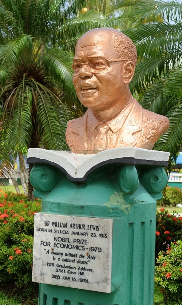 statue of sir arthur lewis nobel laureate in derek walcott square castries