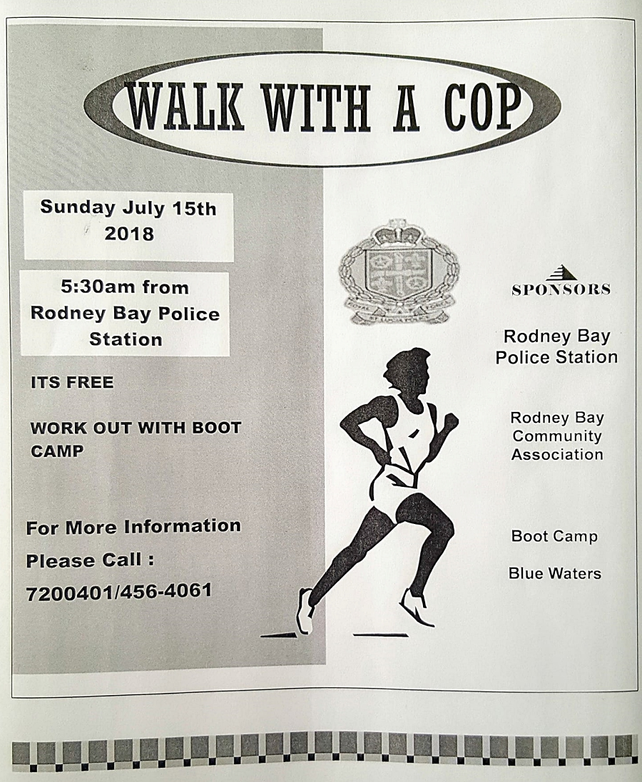 Walk with a cop social event rodney bay