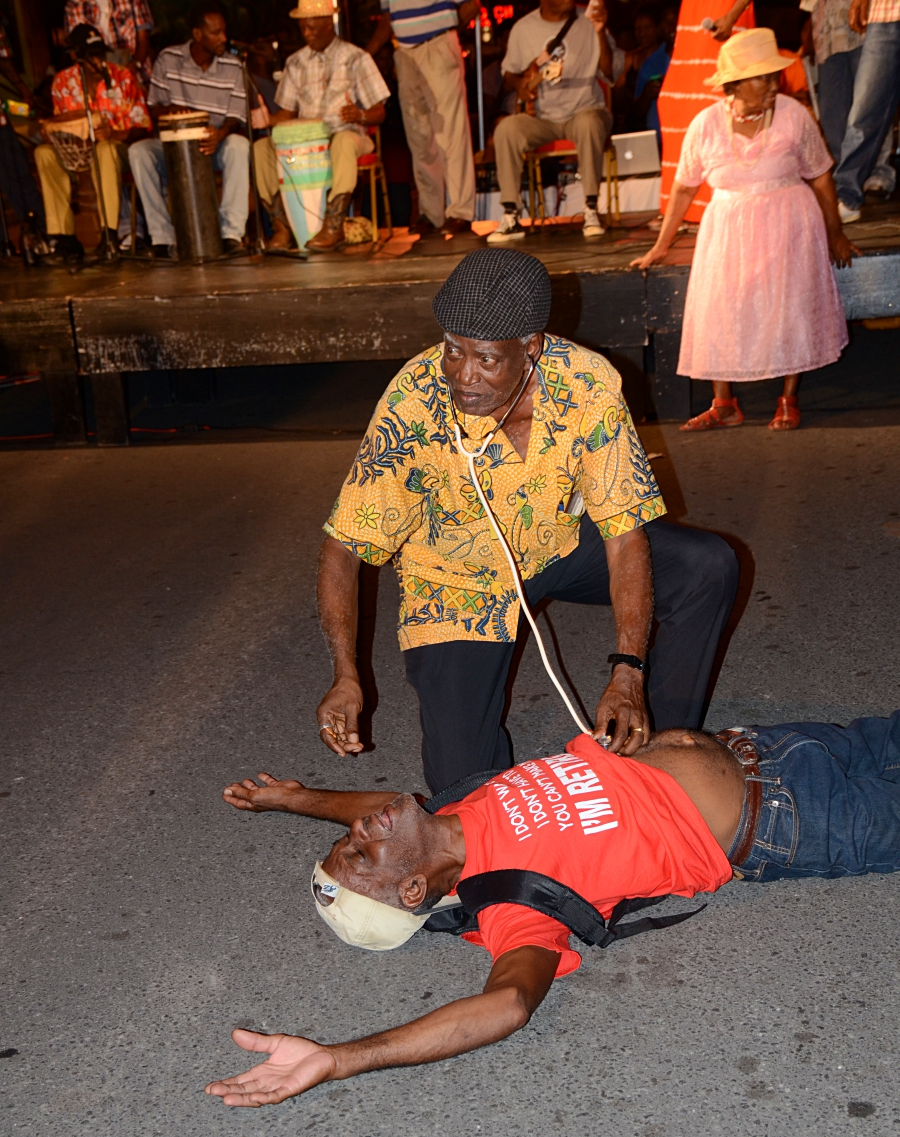 enjoy the acting out of the characters in the traditional festival Lawoz, Rodney Bay
