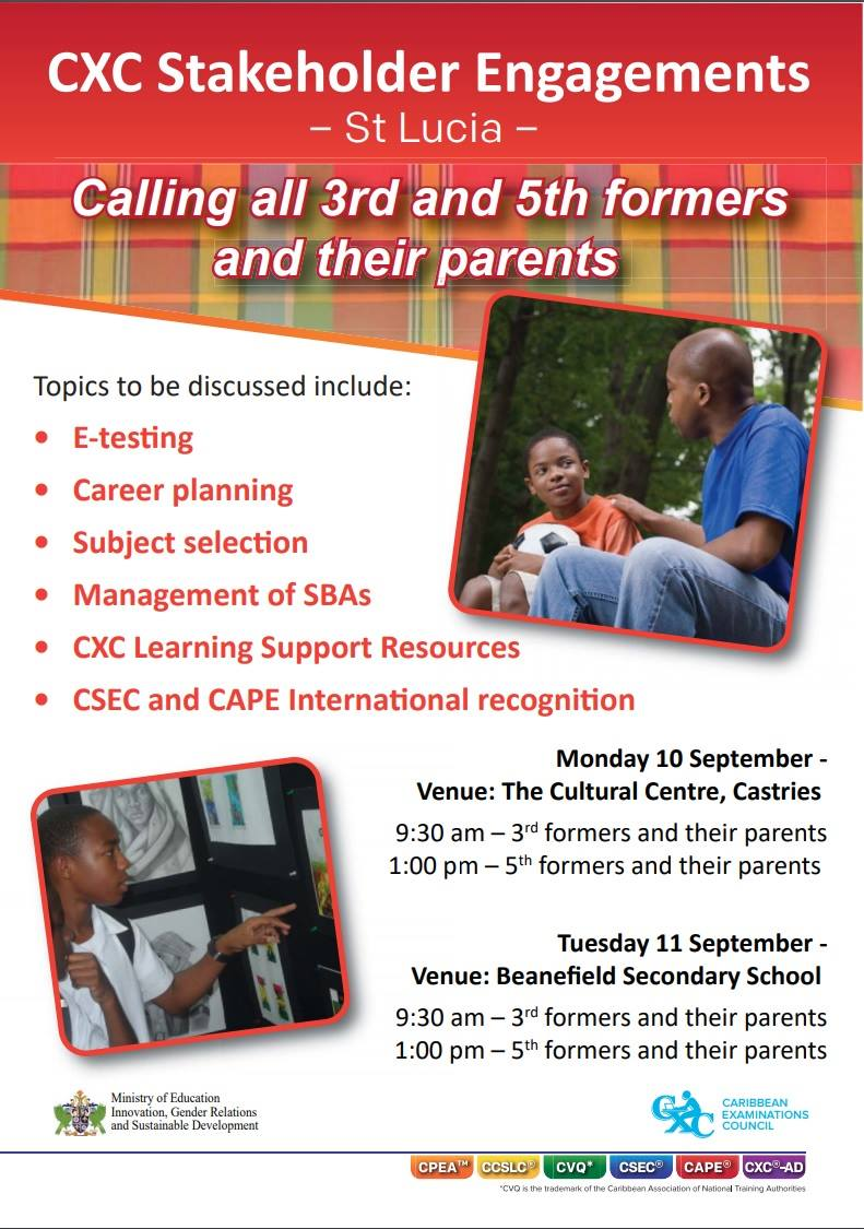 what to do in saint lucia events calendar cxc stakeholders meeting
