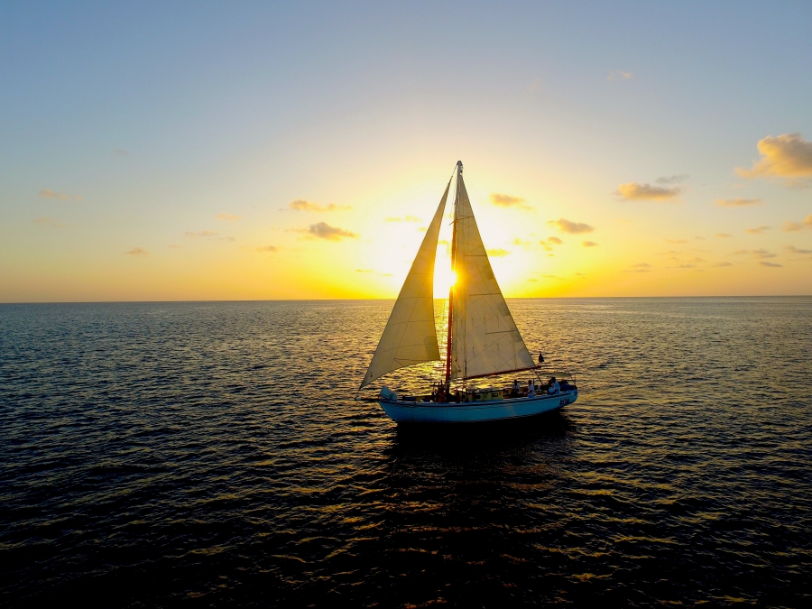 for the best sunset cruise, jus sail authentic caribbean handbuilt yacht with Jus sail saint lucia