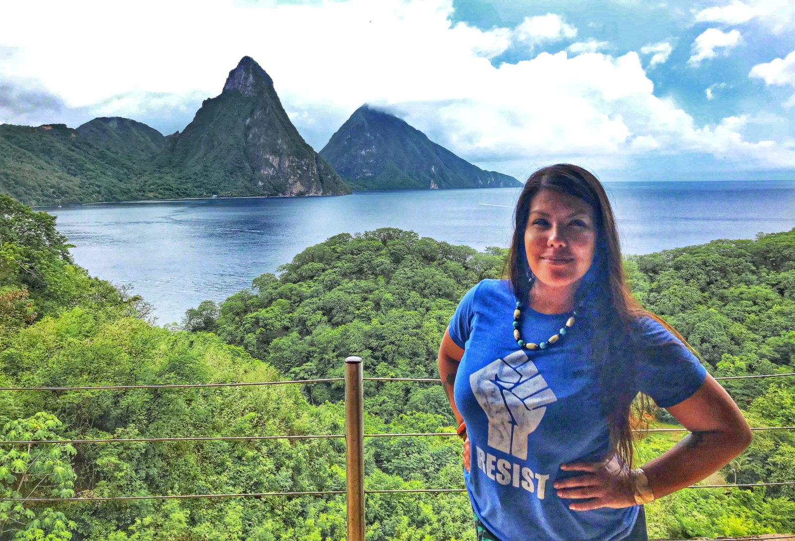 Ana Saldana freelance music mixer and artiste in front of Saint Lucia's iconic Pitons world heritage site near Jade Mountain Resort