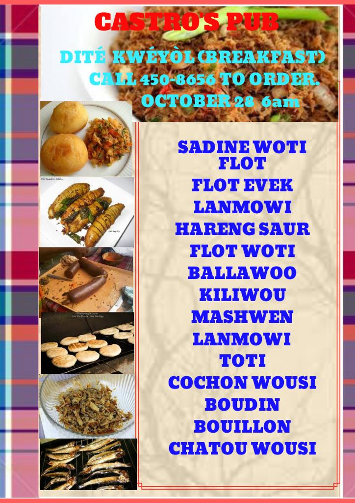Local food experience jounen kweyol creole breakfast at Castro's Pub Gros Islet