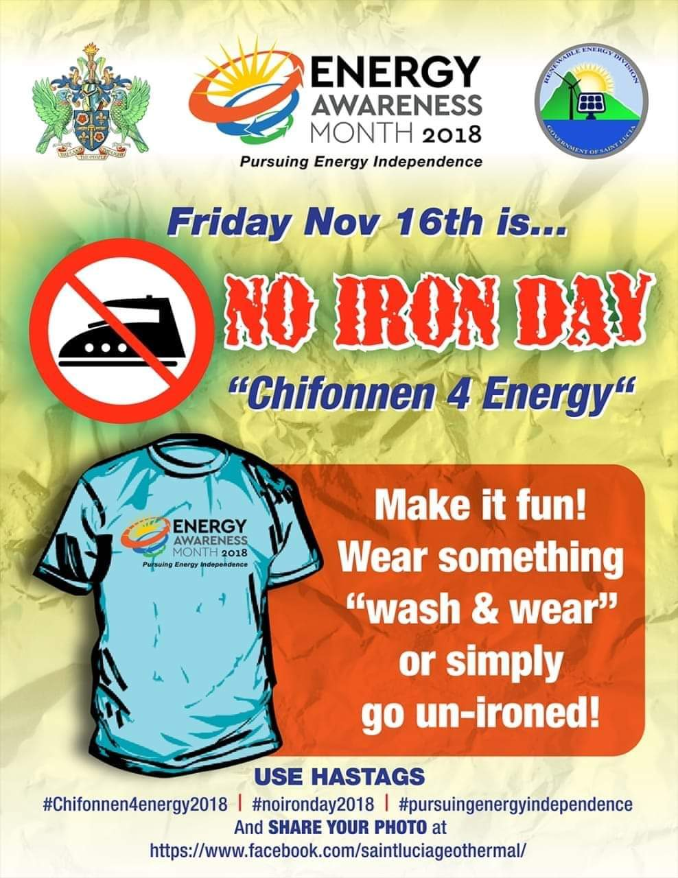 No Iron Day Chifonnen Day Energy Awareness Month