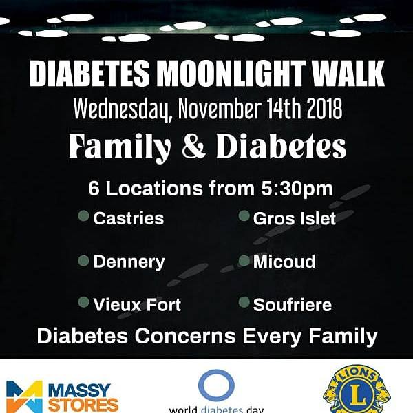 Annual Diabetes moonlight walk fundraiser what to do saint lucia