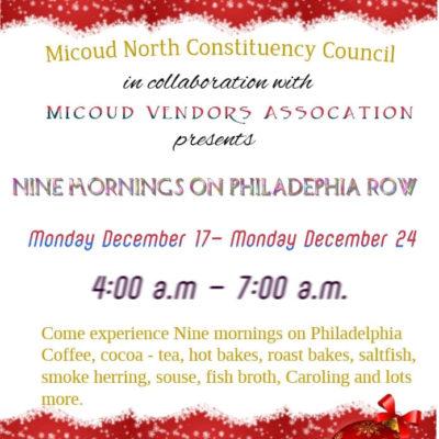 9 Mornings Celebration – Philadelphia Row, Micoud