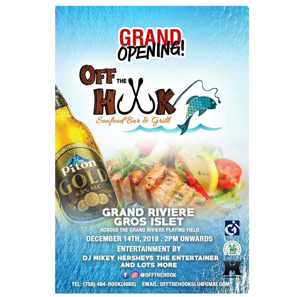 wher to eat st lucia new restaurants seafood bar & grill off the hook grand opening