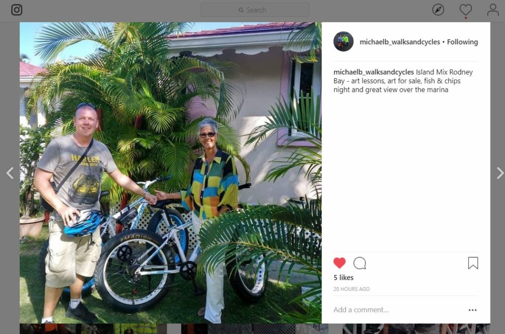 Michael Barratt MBE meets with Nadia Jabour of Island Mix to chat about providing a place for cyclists to safely leave their bikes while exploring Rodney Bay. Michael met with the Saint Lucia National Trust and the Deputy Mayor of Gros Islet while here, to present concepts for developing walking, cycling dedicated routes
