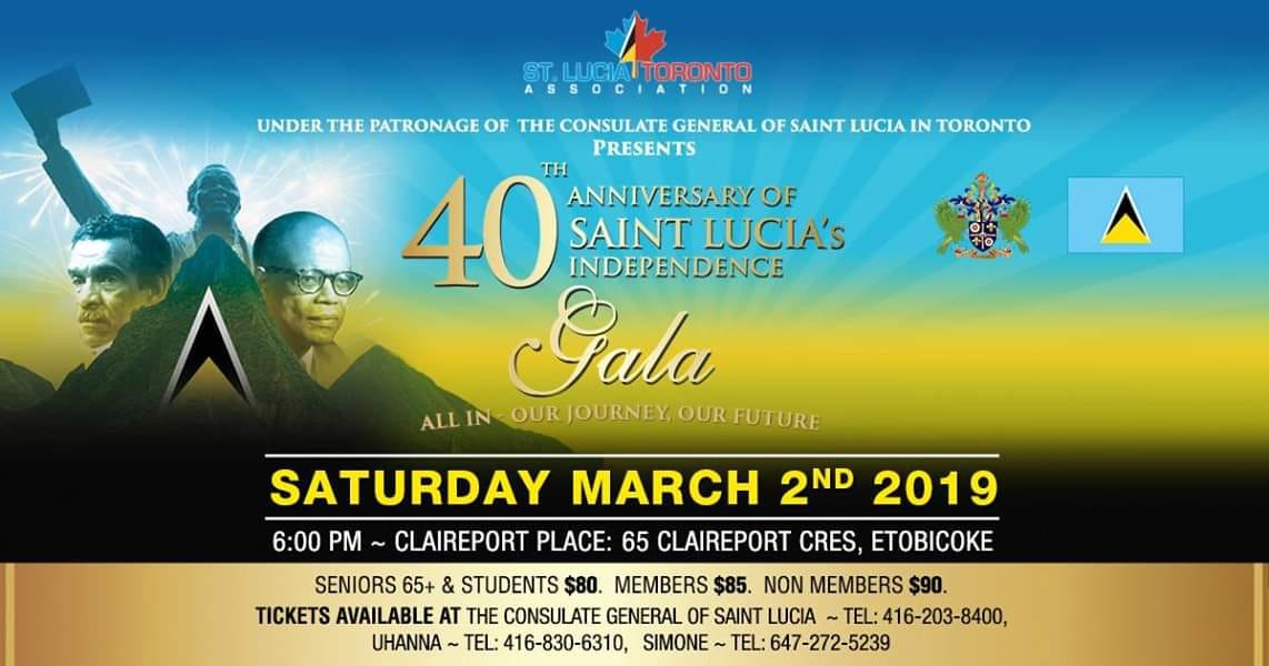 Saint Lucia Toronto Association -celebrate Saint Lucia's 40th Anniversary of Independence in Toronto Canada