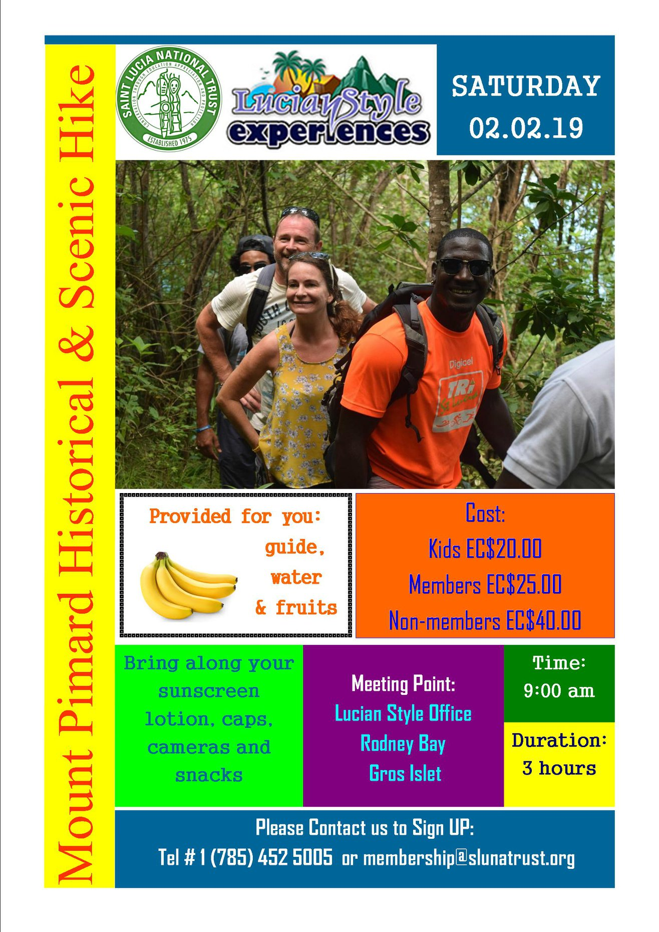 Come enjoy an exhilarating and scenic hike accompanied by our well-trained guides up to the breathtakingly beautiful summit of nature reserve known as Mount Pimard – located conveniently in St. Lucia's Tourism capital of Rodney Bay. Organised by the Saint Lucia National Trust