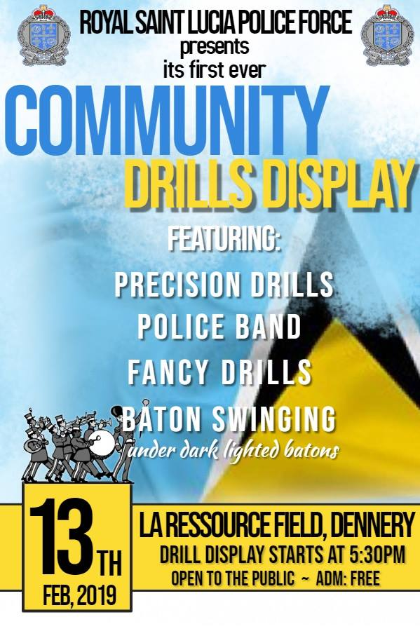 Precision Drills, Police Band, Fancy Drills and Baton Swinging by the RSLPF at La Ressource, Dennery