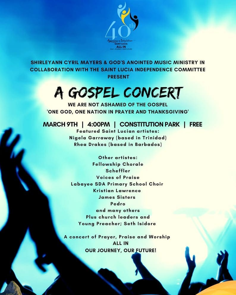 What to do in St Lucia free gospel concert with Shirely-Ann Cyril-Mayers in the heart of Castries - at Constution Park