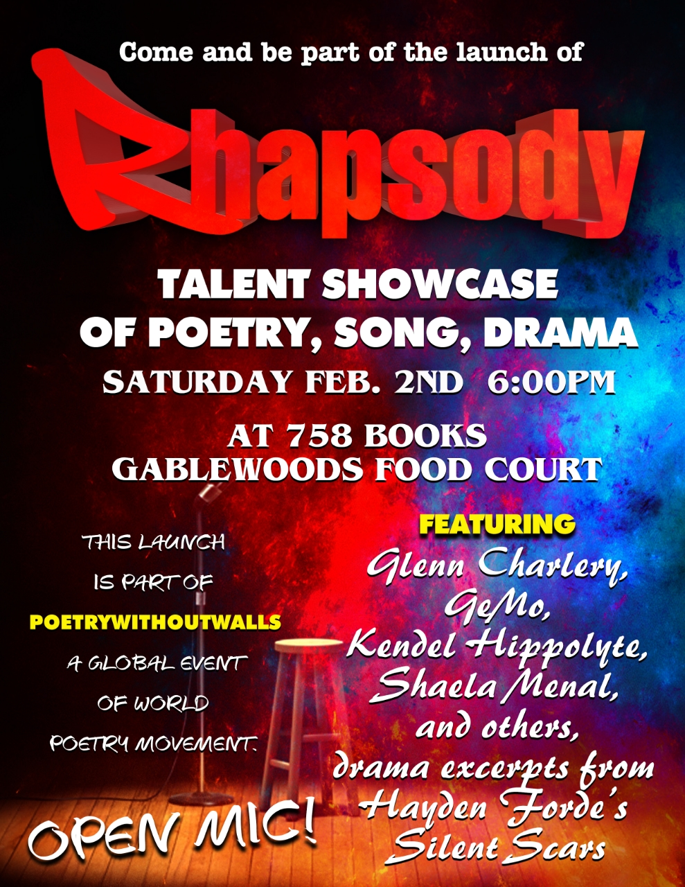rhapsody talent showcase poetry dance song what to do in st lucia: Kendel Hippolyte, Glenn Charlery, haela Mena, GeMo and others, excerpts from Hayden Forde's Silent Scar