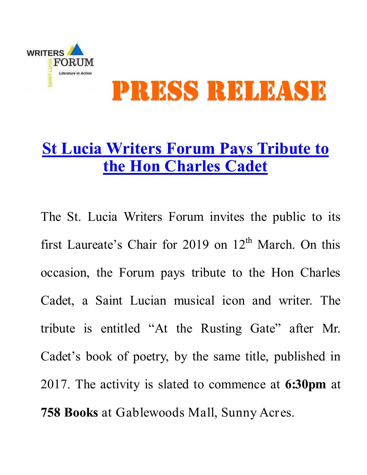 The Laureate's Chair - Tribute to the Hon Charles Cadet, Saint Lucian musical icon