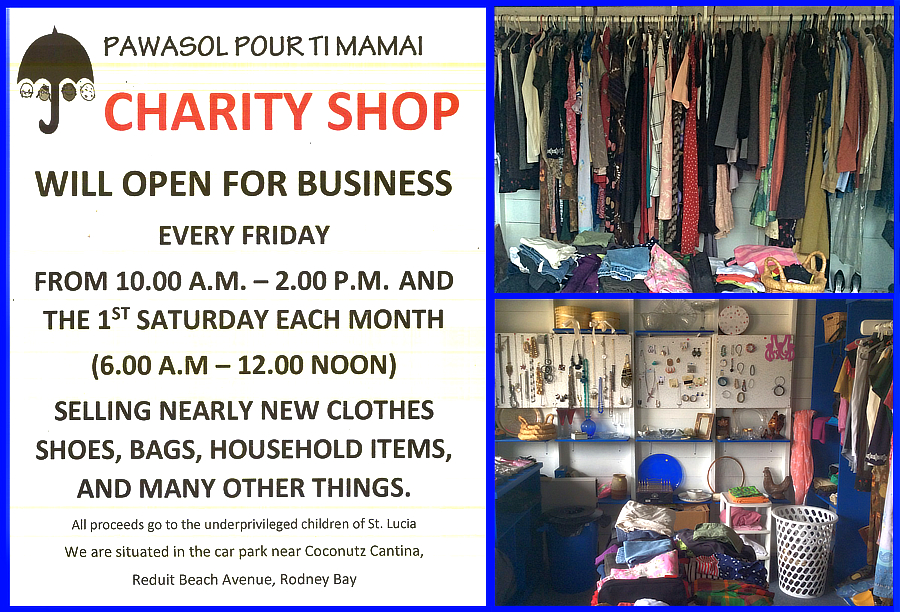 The Pawasol Pour Ti Mamay Charity shop has an eclectic variety of vintage, nearly new and 2nd time around clothing, accessories and shoes for men, women,  kids as well as household. Support this Saint Lucia children in need charity by shopping here