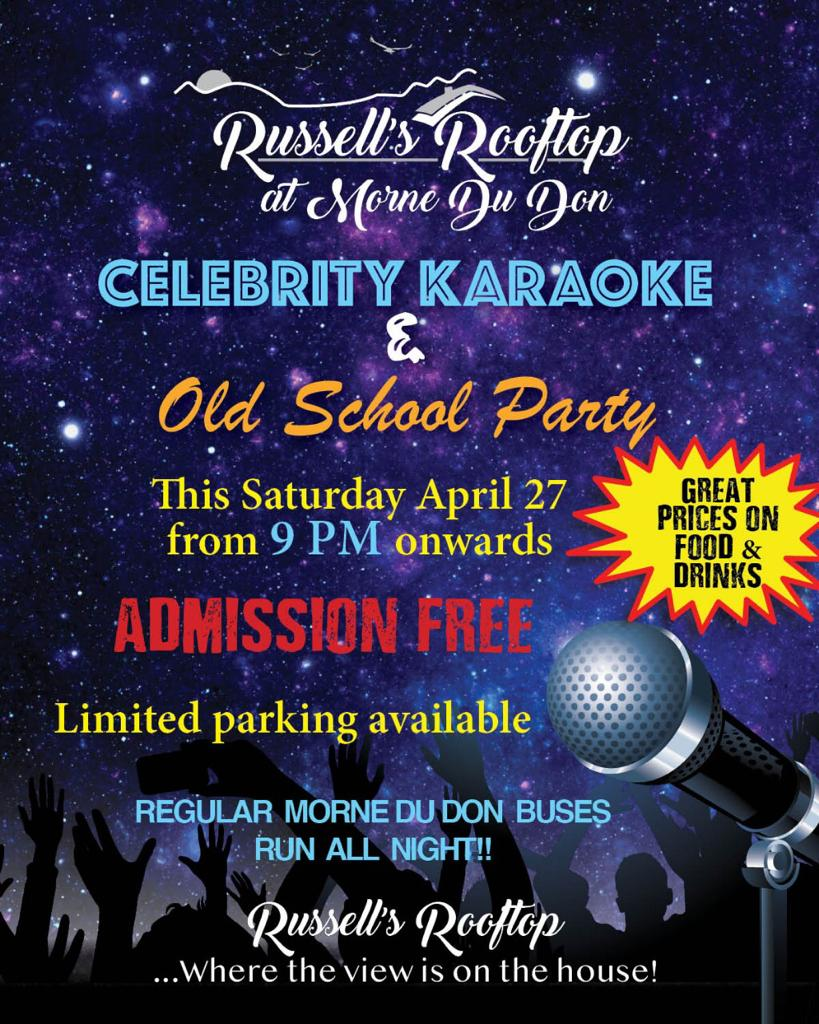 what to do st lucia castries Russell's Rooftop Presents Celebrity Karaoke & Old School Party
