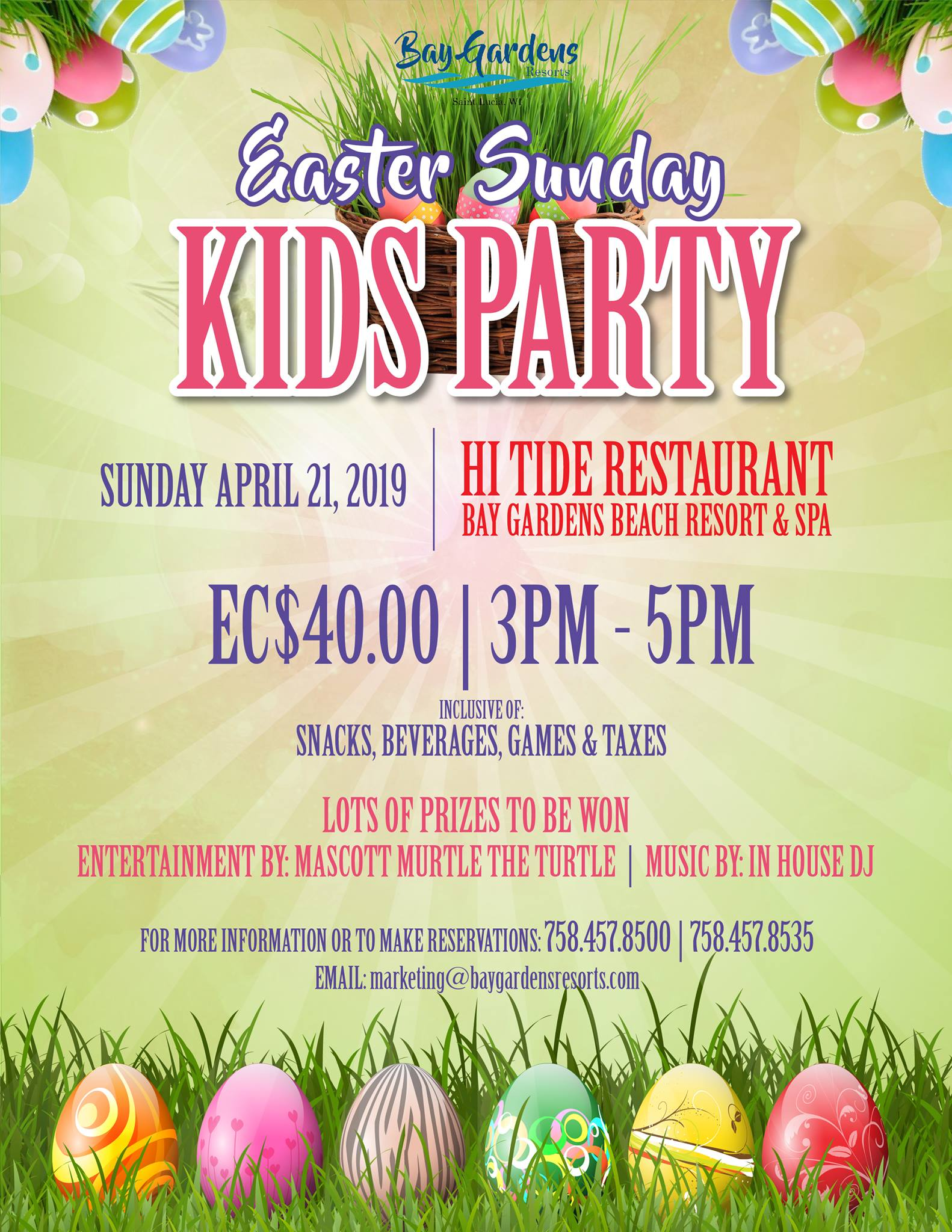 childrens easter events st lucia Kids Easter Party by Bay Gardens resort