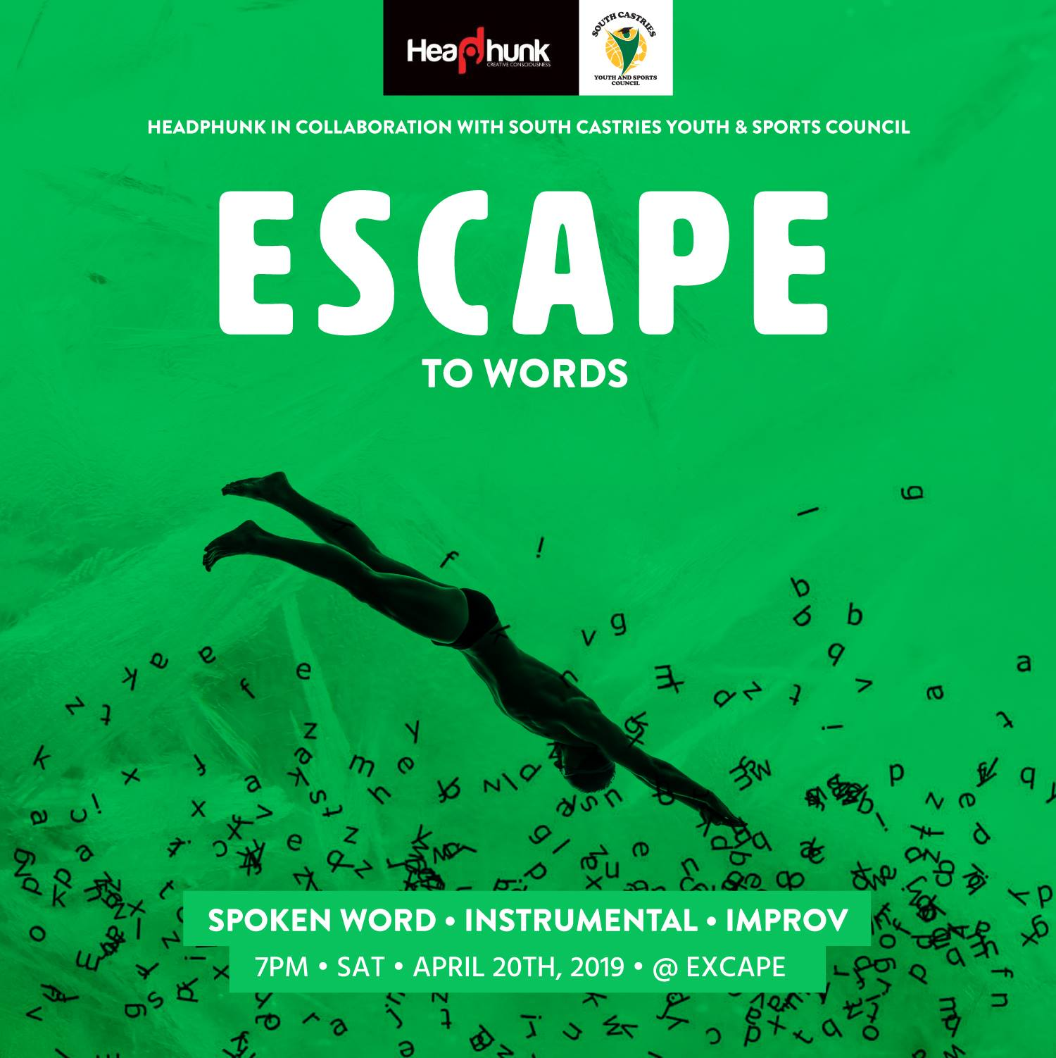 headphunk spoken word instrumental improv - headphunk is back - saint lucia poets and performers present Escape to words