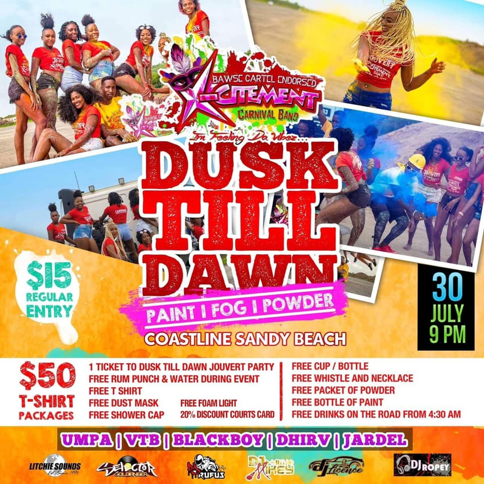 from dusk till dawn jouvert party at sandy beach vieux fort carnival