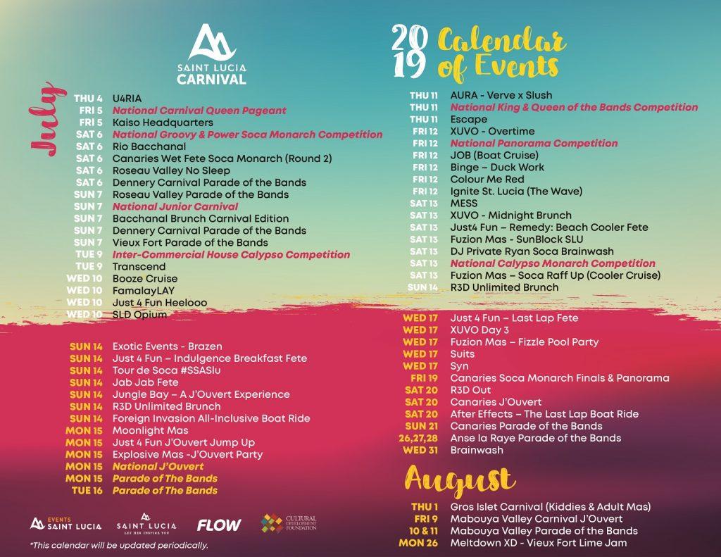 jouvet saint lucia carnival events july 2019