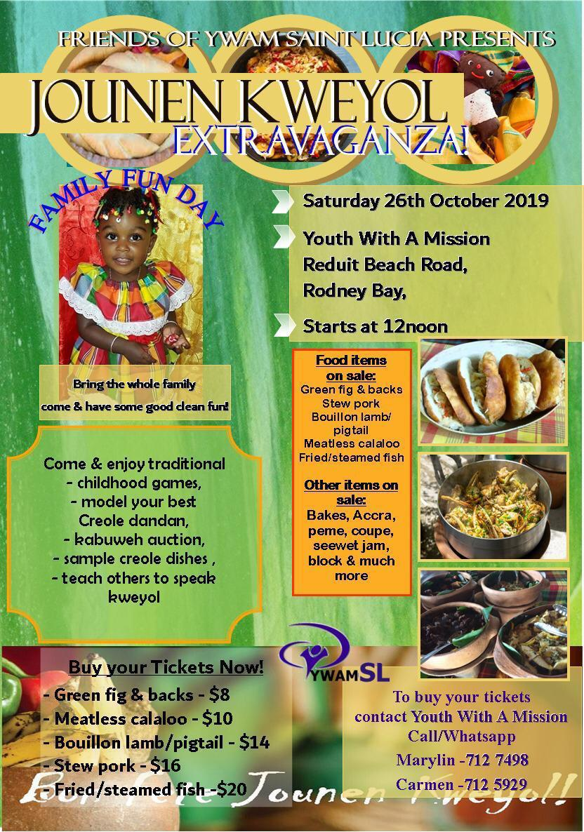 Come eat, play, model your kewyol wear and share your knowledge of kweyol at the YWAM Youth with a Mission Kweyol Extravaganza