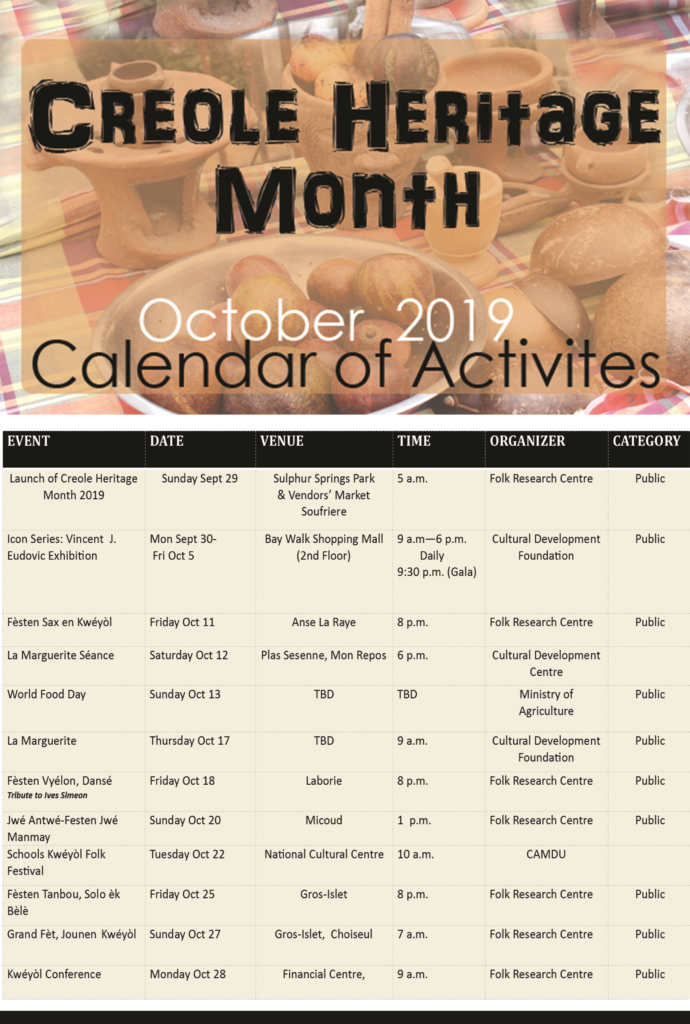 Saint Lucia Creole Heritage Month 2019 Calendar of Activities