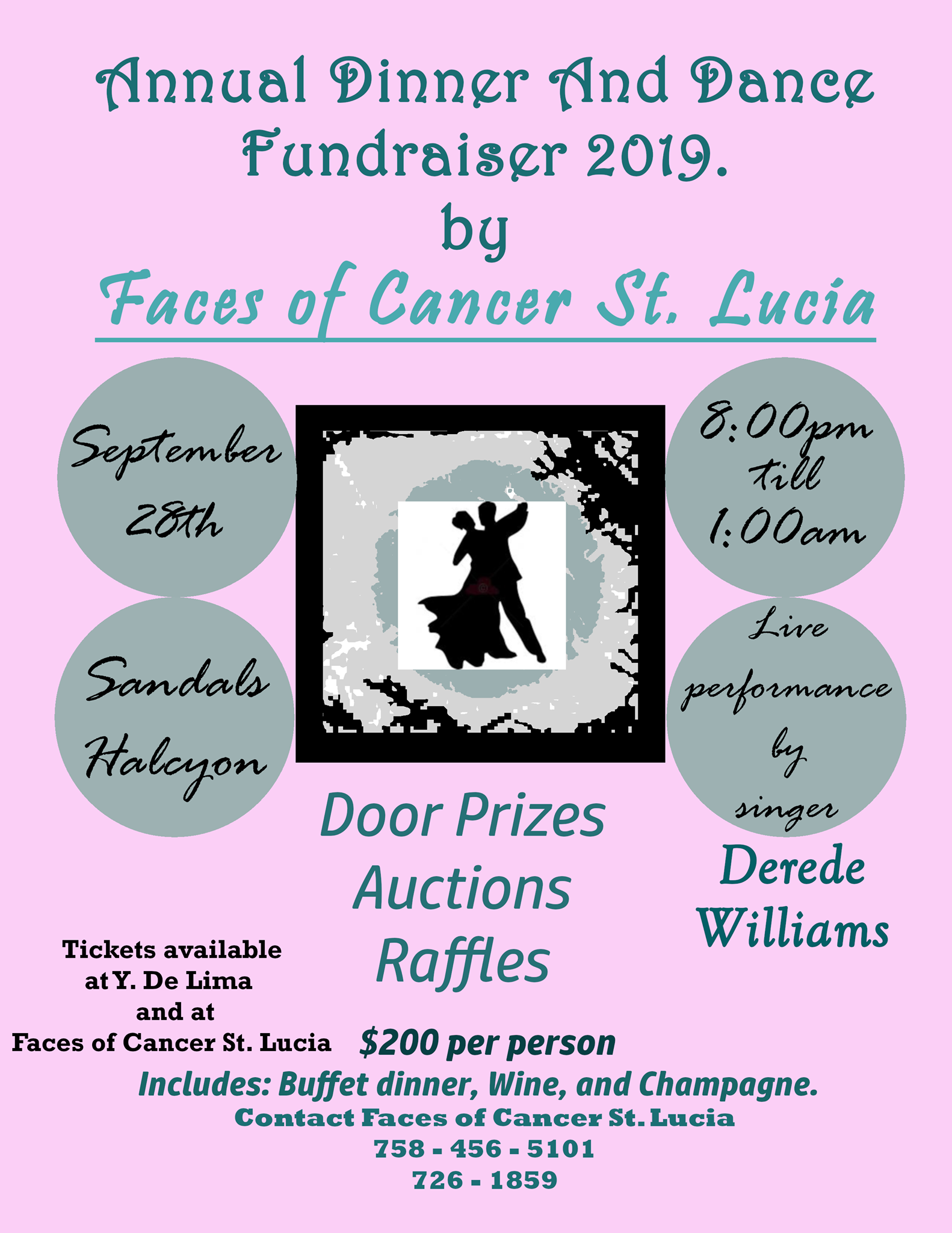 faces of cancer fundraising dinner and dance at sandals halcyon with derede williams
