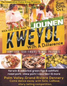 Carine & avocado, green fig and saltfish, toast pork - come eat and drink and enjoy Jounen Kwéyòl