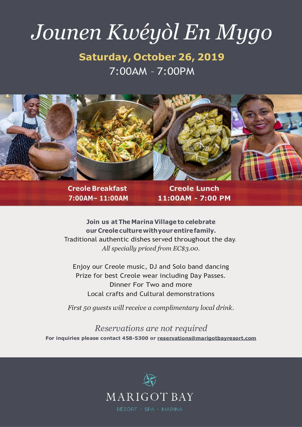 Dishes from $3 at Marigot bay resort creole heritage celebration
