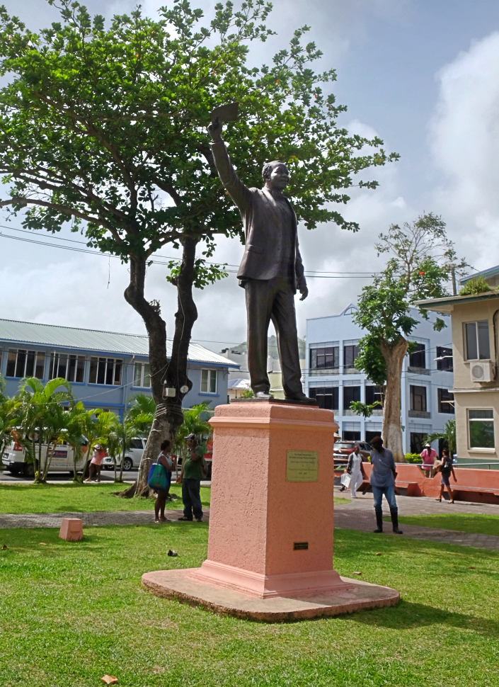statue of sir john compton in constitution park castries st lucia