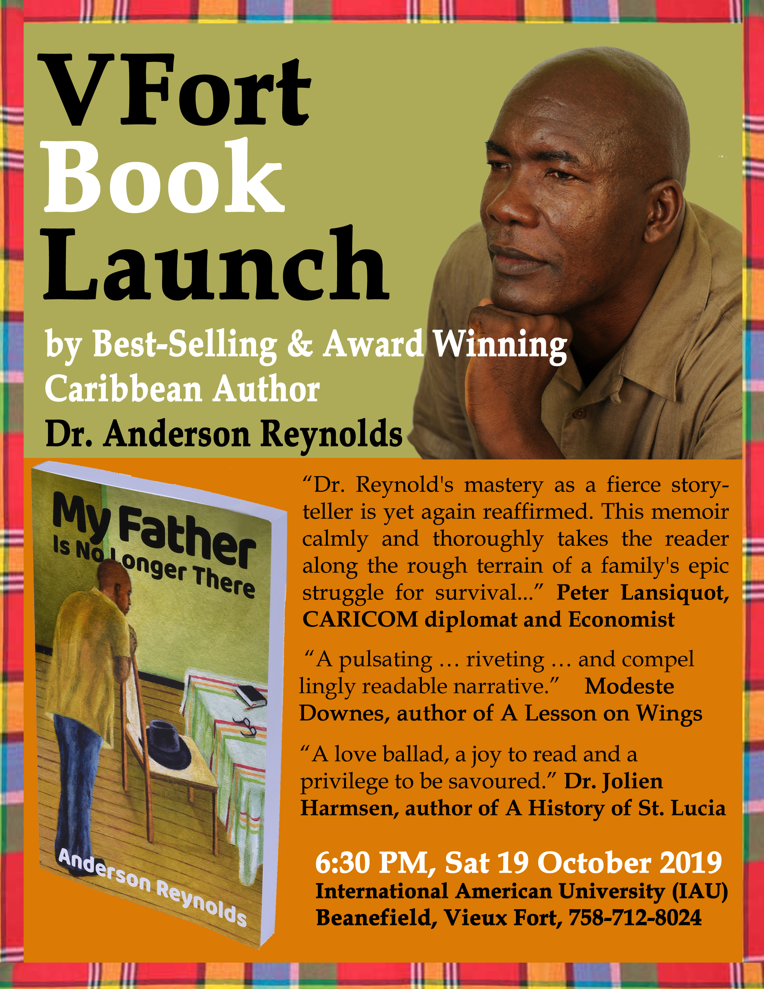 St lucian author anderson reynolds Vieux Fort Book Launch Final