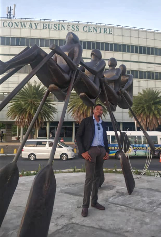 all in statue by saint lucian sculptor jallim eudovic seen on castries waterfront and installed to commemmorate the 40th anniversary of independence