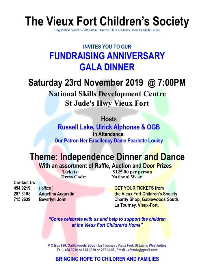 Vieux Fort Childrens Society fundraising gala dinner with Russell Lake and Ulrick Alphonse