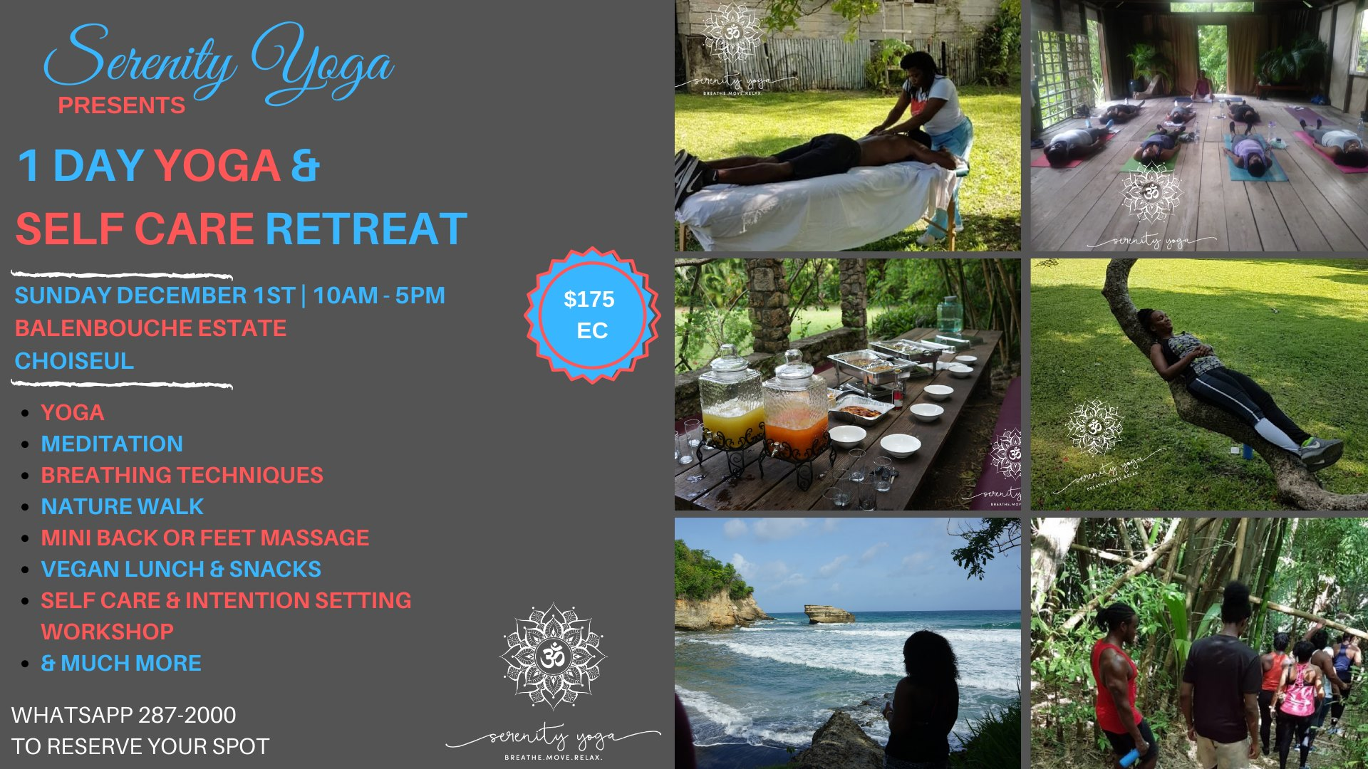 serenity yoga 758 1-day yoga and self-care retreat at balenbouche estate st lucia