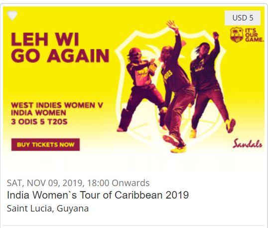 West Windies Women v India Women, 2nd T20I SUN, NOV10, 2019-13:30(Local) Daren Sammy Cricket Ground, Gros Islet, St. Lucia