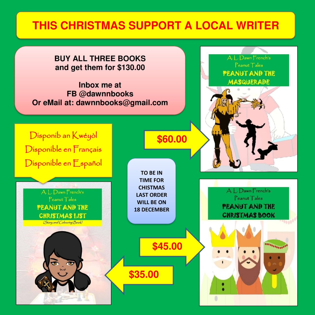 Buy a book for Christmas! Local St Lucian author A.L. Dawn French has a fabulous Christmas special on